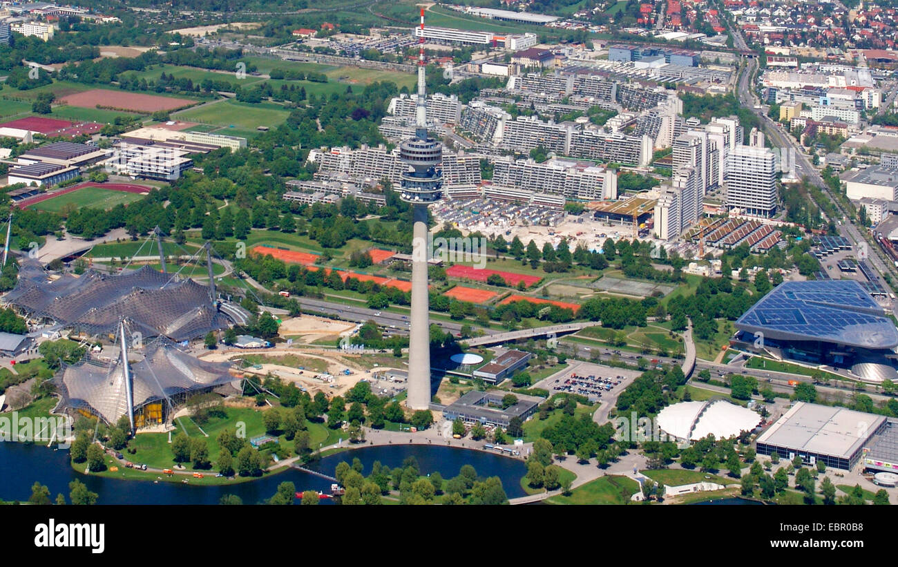 aerial view to Olympic Tower with the Olympic Stadium, 8.5.2008, Germany, Bavaria, Muenchen - Stock Image