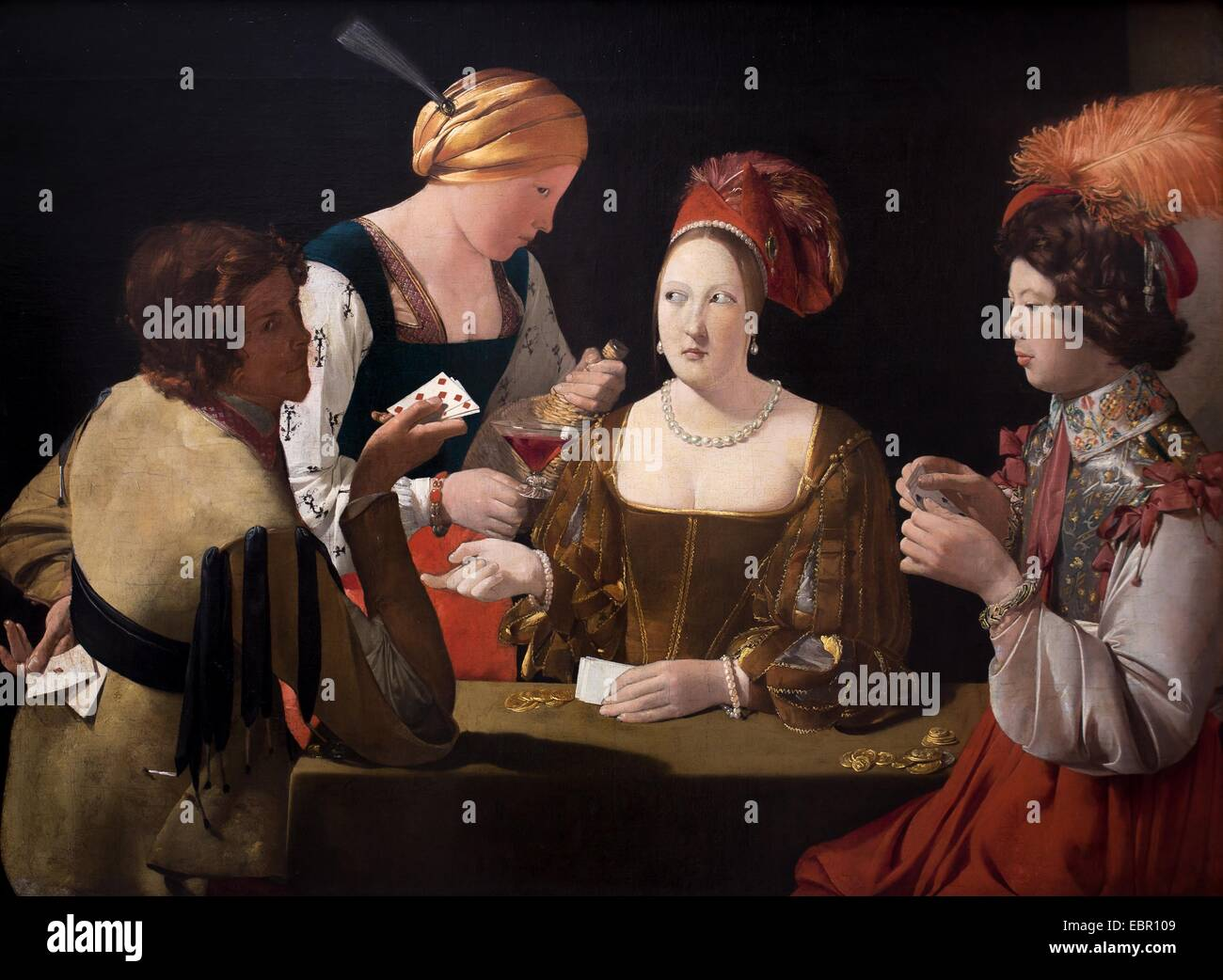 ActiveMuseum_0001626.jpg / The Cheat with the Ace of Diamonds, circa 1640 - Georges de La Tour Oil on canvas 25/09/2013 - Stock Image