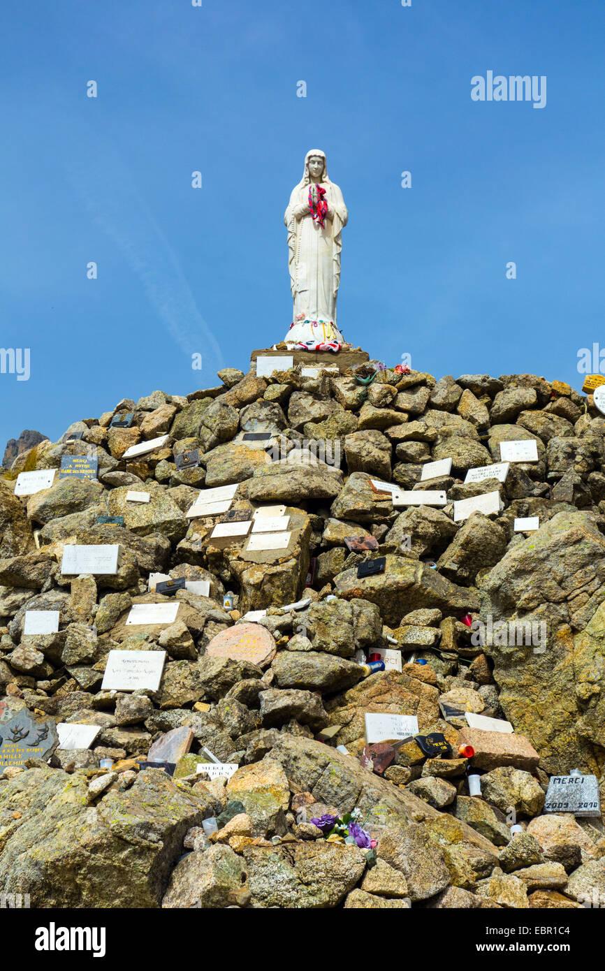 Madonna of the Snows statue, Col de Bavella, Corsica, France - Stock Image