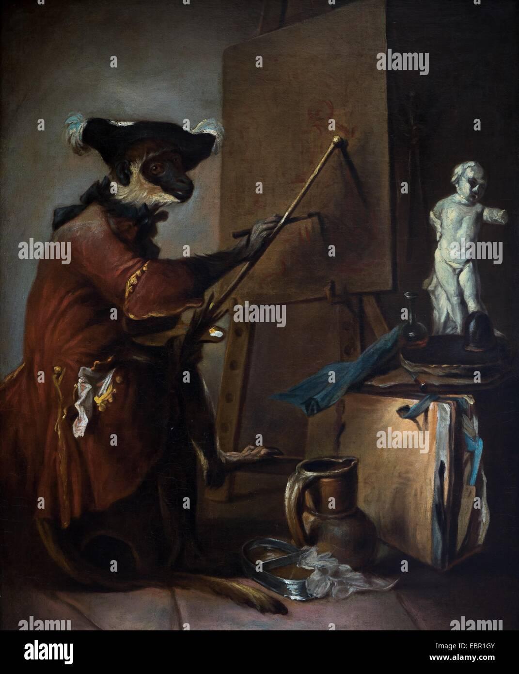 ActiveMuseum_0001872.jpg / The Monkey Painter, circa 1740 - Jean-Simeon Chardin Oil on canvas 25/09/2013  -   / - Stock Image