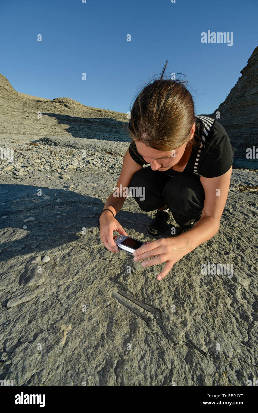 young woman taking photos of fossils at Byrum's raukar, Sweden, Oeland, Byrums Raukar Stock Photo