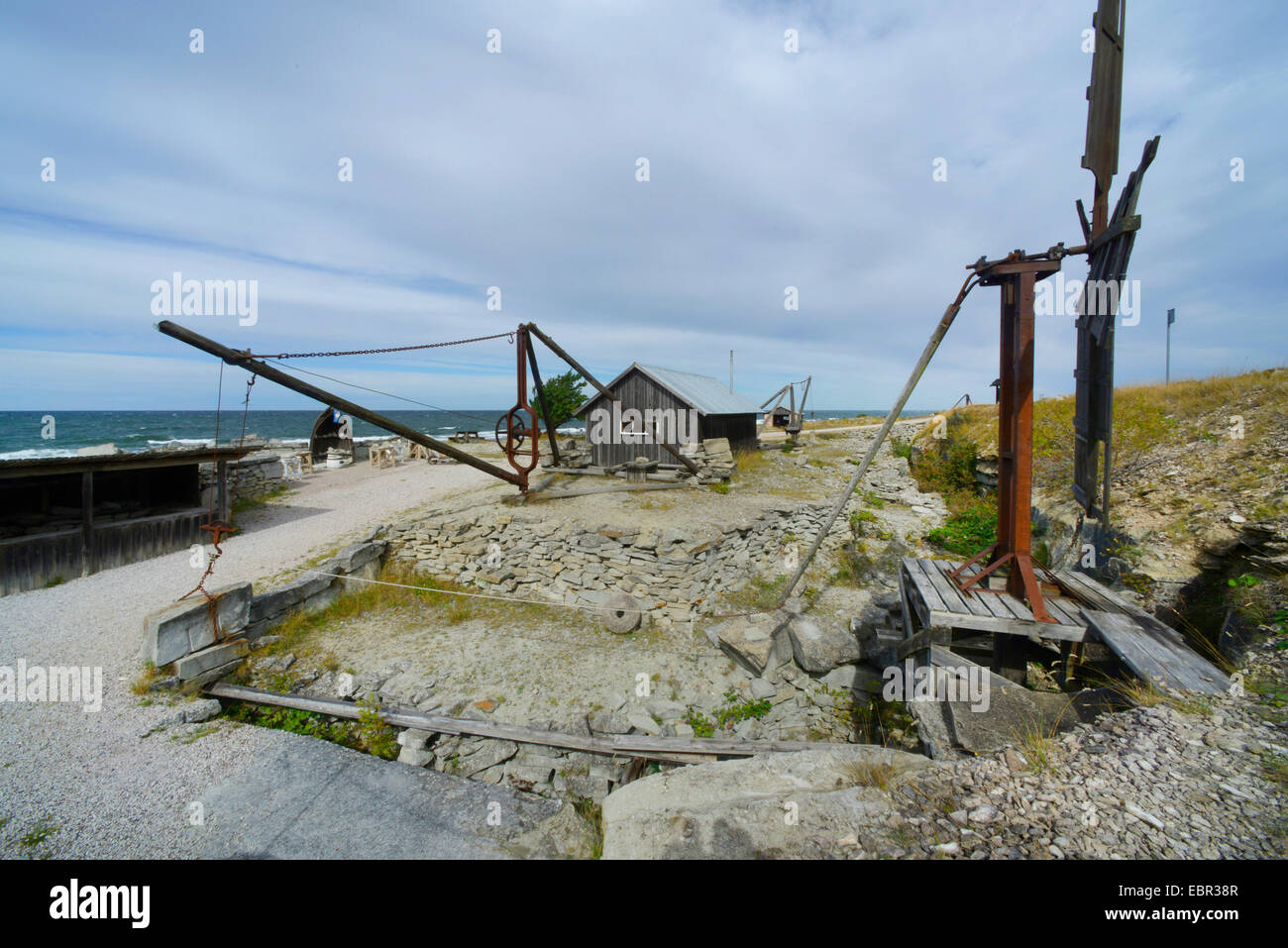 open-air museum sandstone quarries near Kaettelvik, Sweden, Gotland - Stock Image