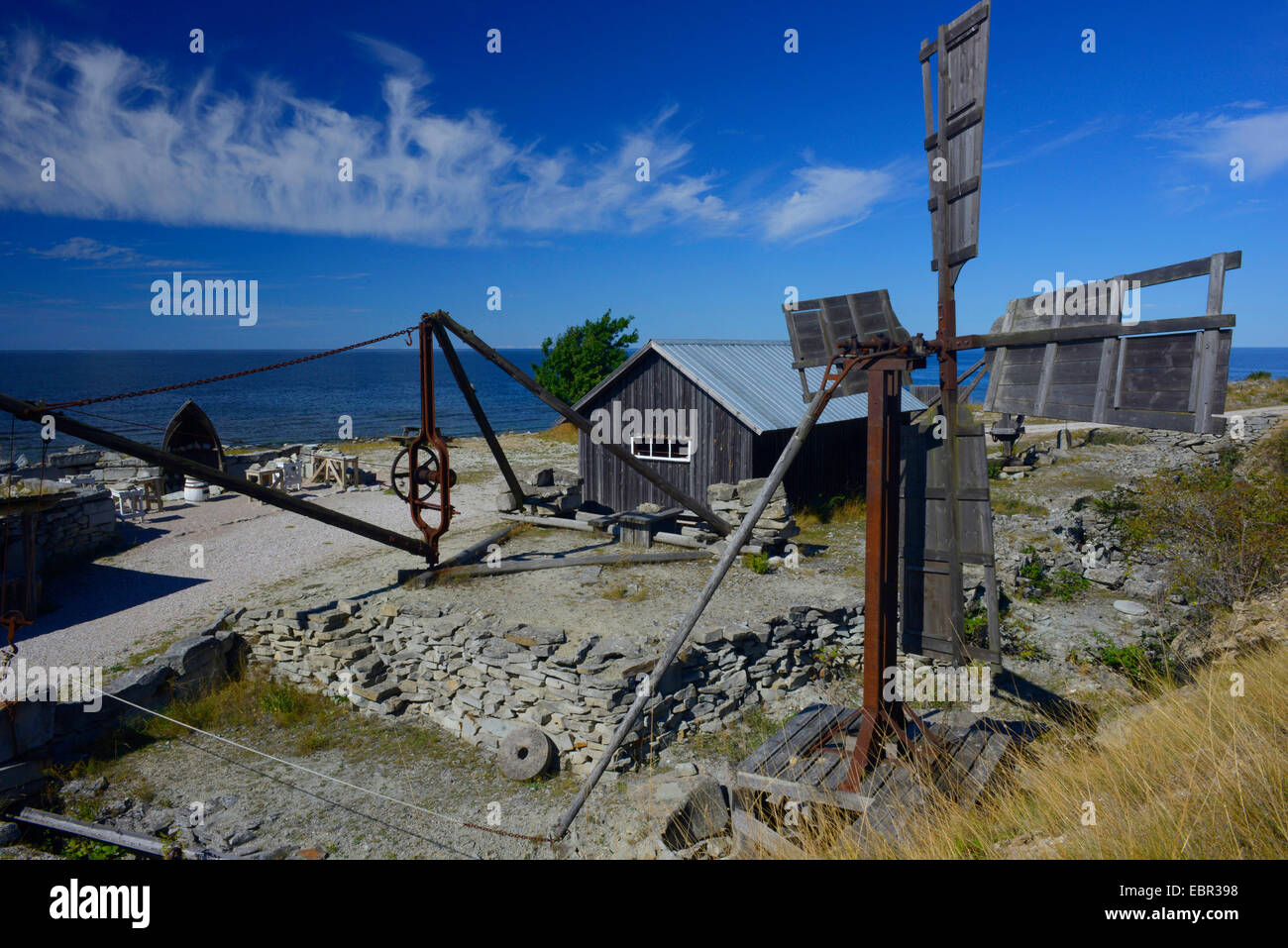 open-air museum sandstone quarries near Kaettelvik, Sweden, Hoburgen, Gotland - Stock Image