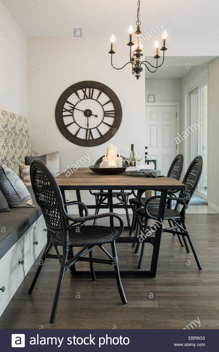 Chandelier over dining table Stock Photo