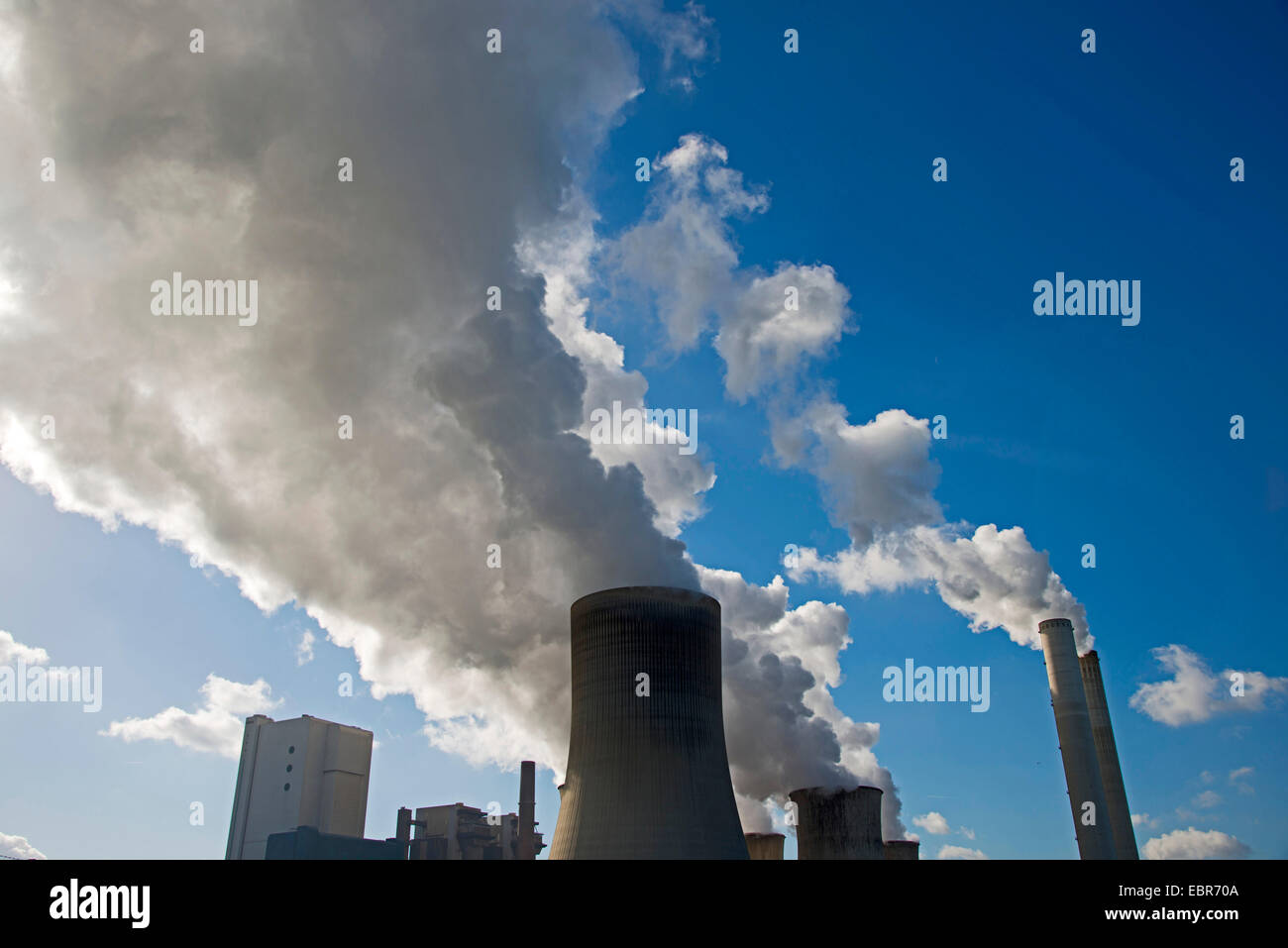 brown coal-fired power station RWE-Power in Niederaussem, Germany, North Rhine-Westphalia, Niederaussem - Stock Image
