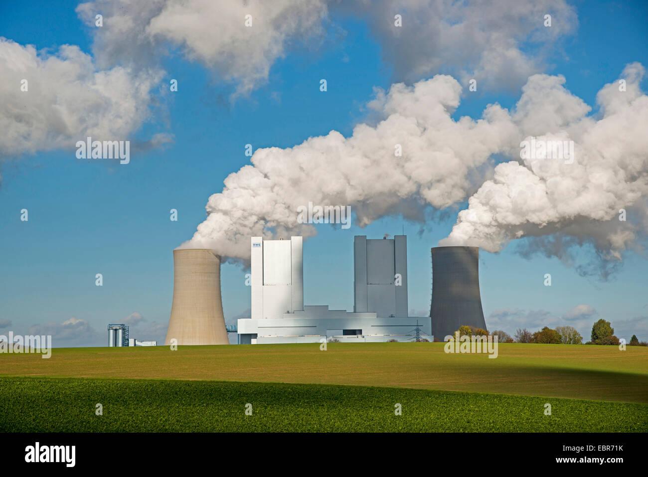 brown coal-fired power station RWE-Power in Grevenbroich-Neurath, Germany, North Rhine-Westphalia, Grevenbroich - Stock Image