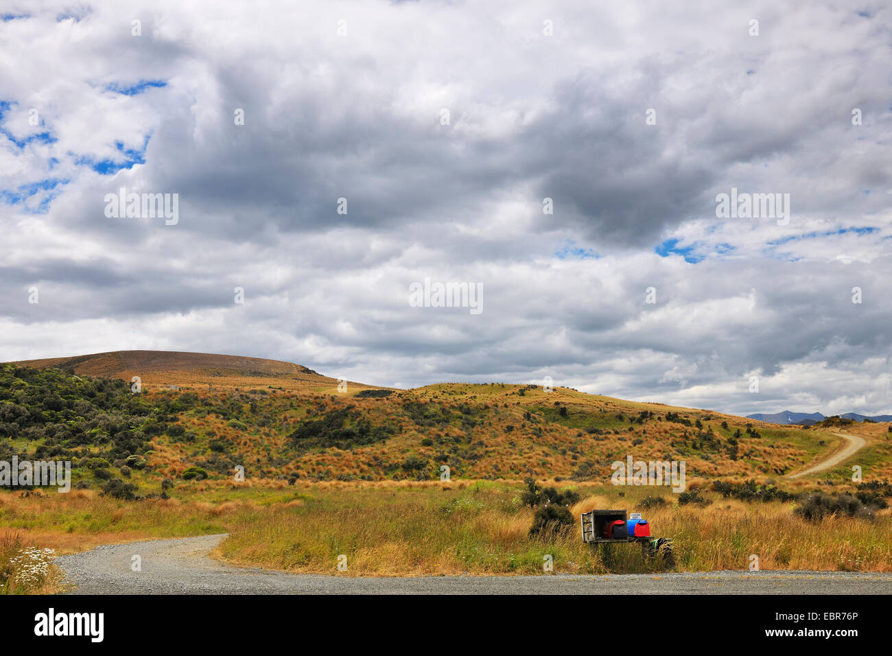 Gravel Road with Mailbox, New Zealand, Southern Island, Southland, Centre Hill - Stock Image