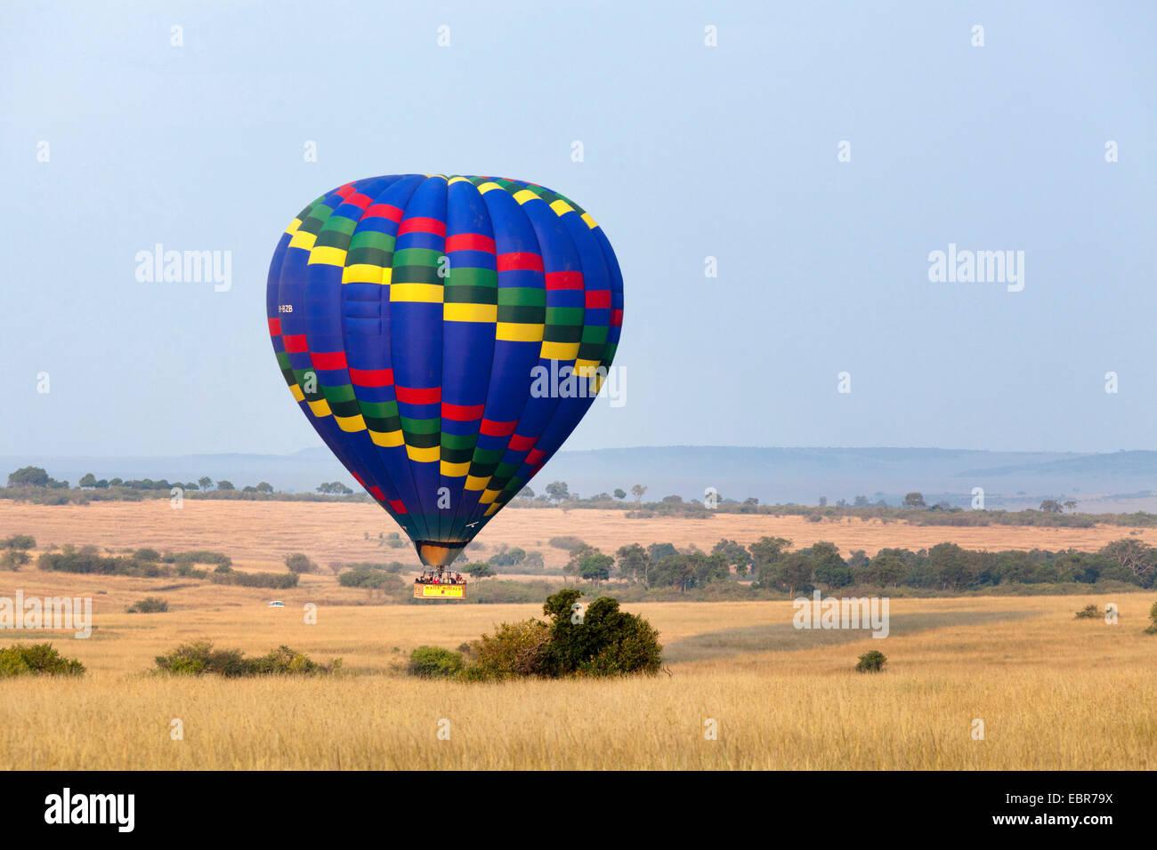 baloon safari at Masai Mara in the morning, Kenya, Masai Mara National Park - Stock Image