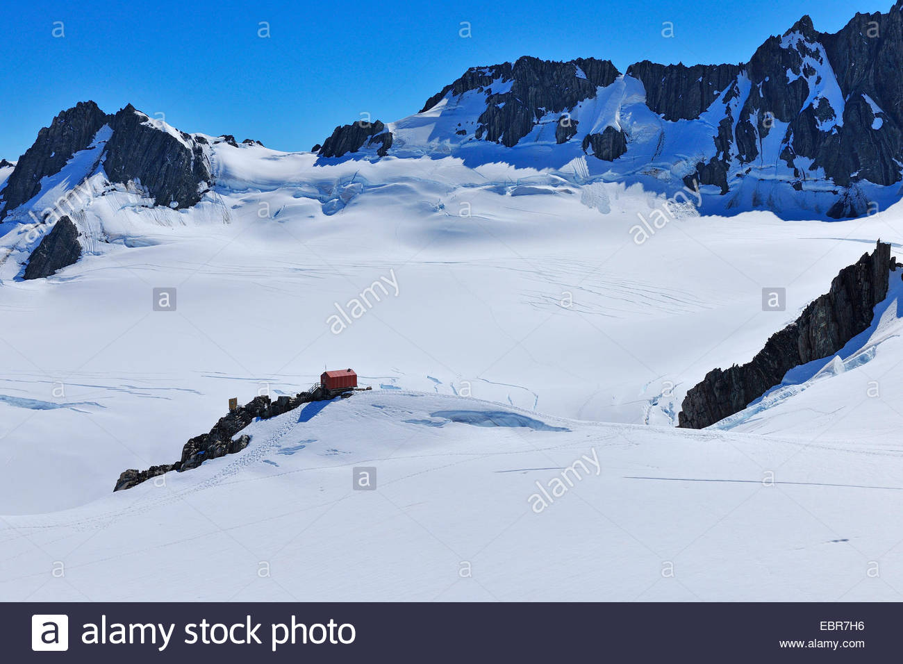 Cabin Centennial Hut, Franz Josef Glacier, New Zealand, West Coast, Westland National Park - Stock Image