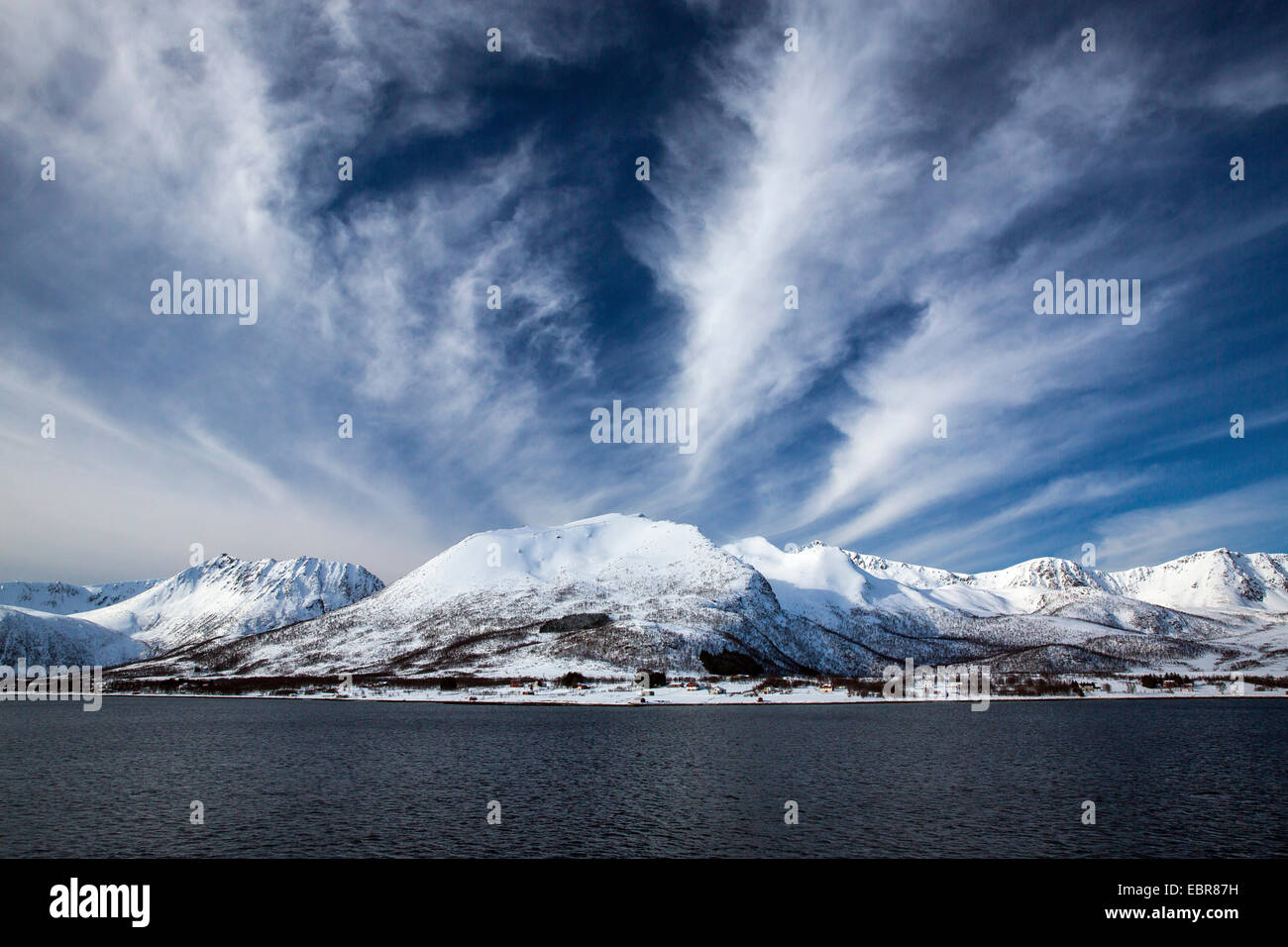cloudy sky over the coast of Risoysundet, Norway, Nordland, Risoysundet - Stock Image