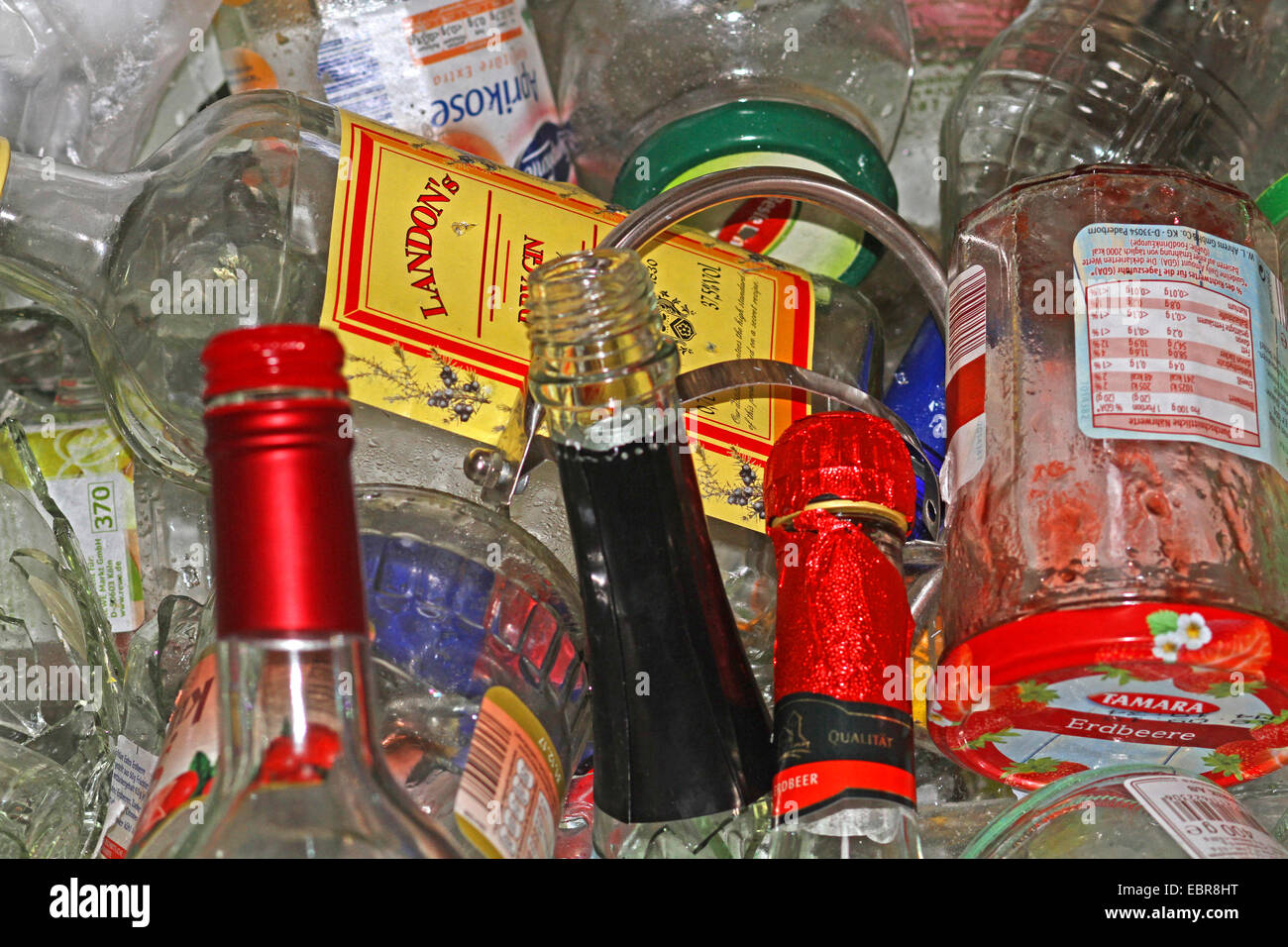 view in a bottle bank, Germany - Stock Image