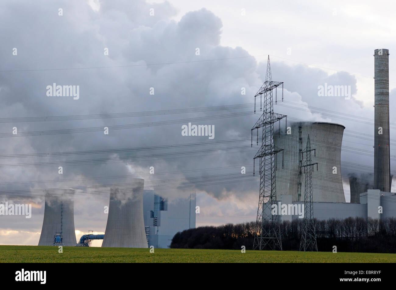 Neurath Power Station of the Rhenish lignite mining region, Germany, North Rhine-Westphalia, Neurath, Grevenbroich - Stock Image