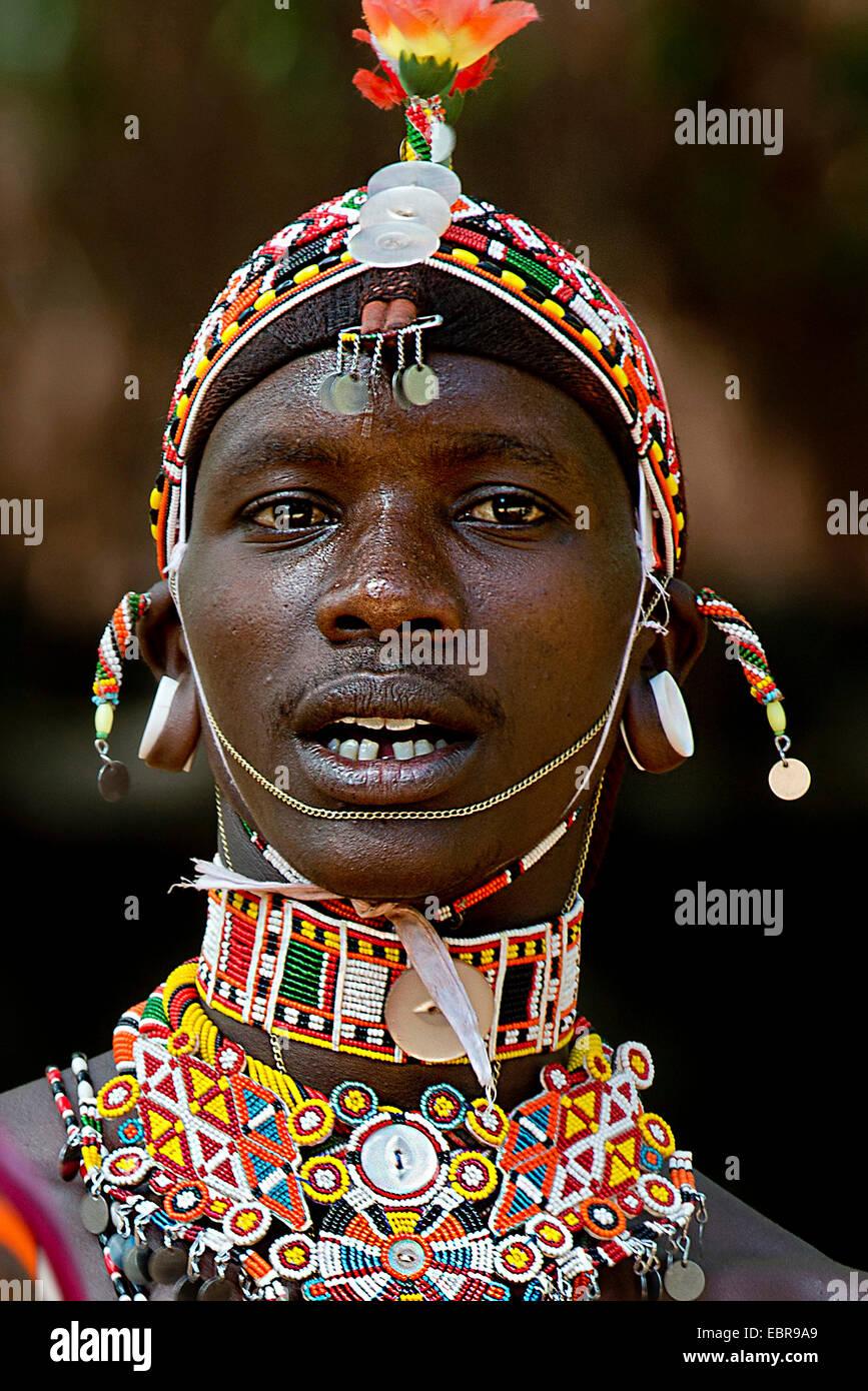 portrait of a proud Samburu man in tribal garb, Kenya - Stock Image