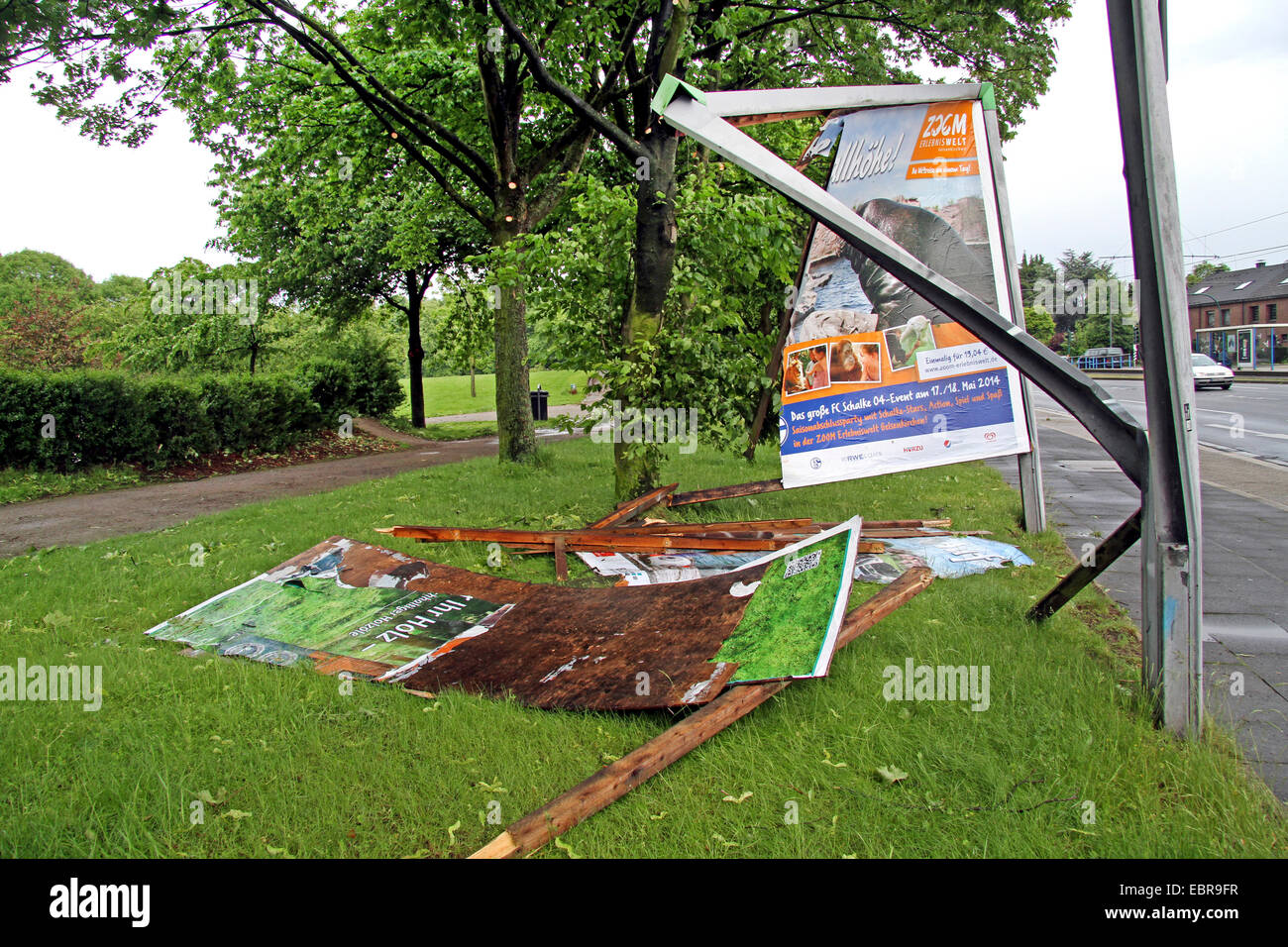 destroyed advertisement board after squall, Germany - Stock Image