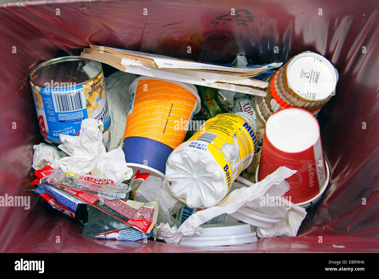 view in a garbage bin on a train plattform, Germany - Stock Image