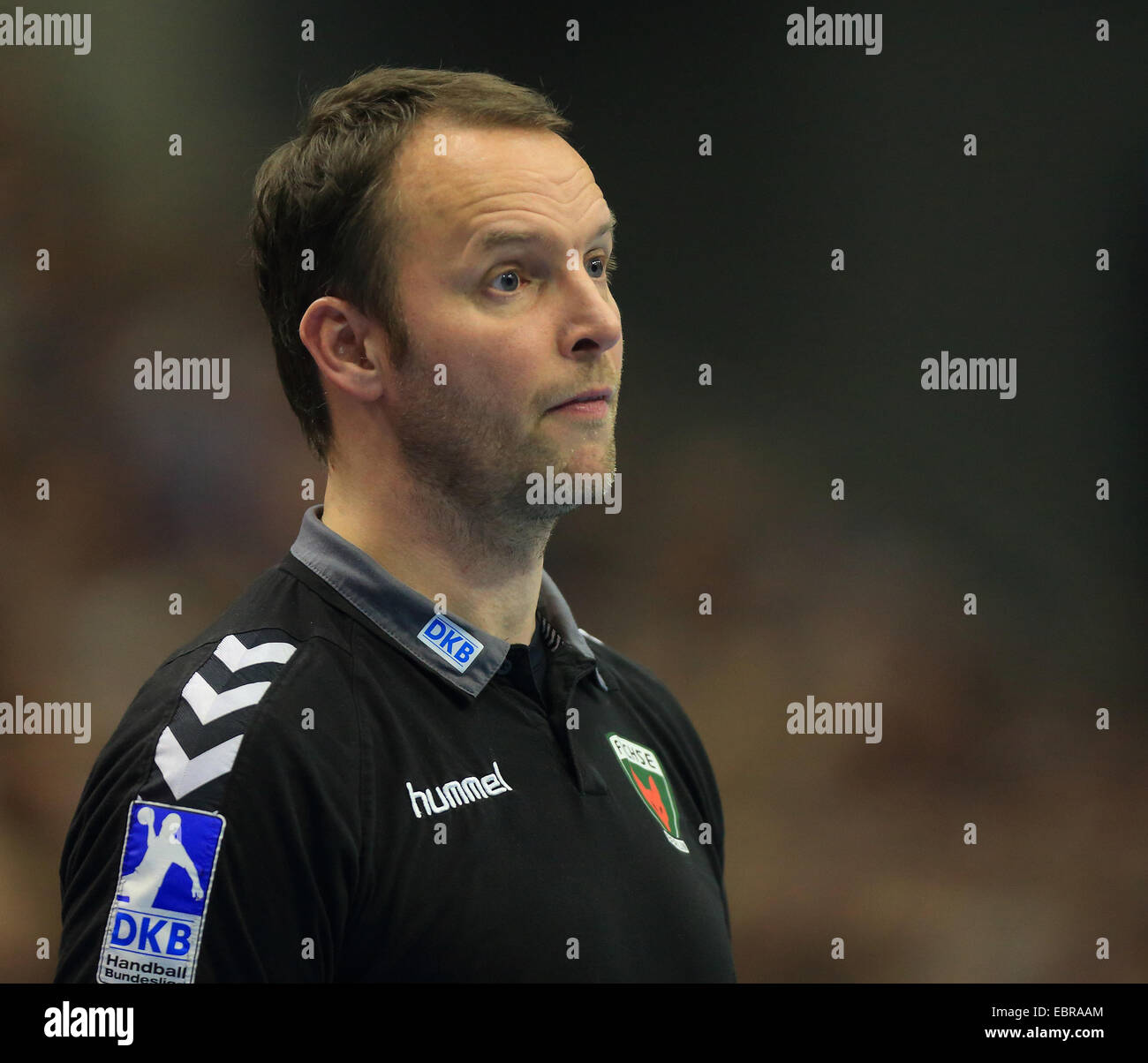 Berlin's Dagur Sigurdsson at the German Bundesliga handball match between FCMagdeburg and Fuechse Berlin - Stock Image