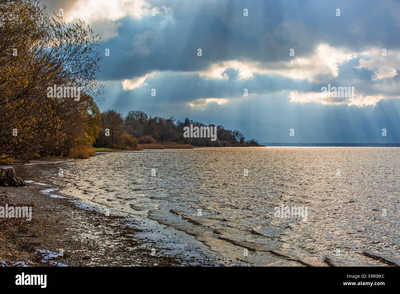 approaching thunderstorm over Chiemsee, Germany, Bavaria, Lake Chiemsee - Stock Image
