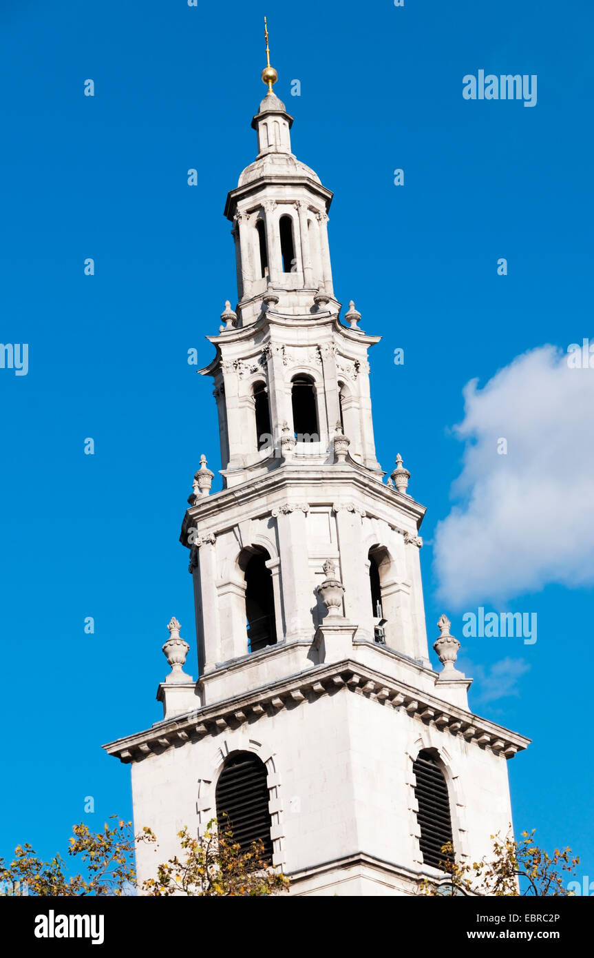 The steeple of  St Clement Danes church, Aldwych, London - Stock Image
