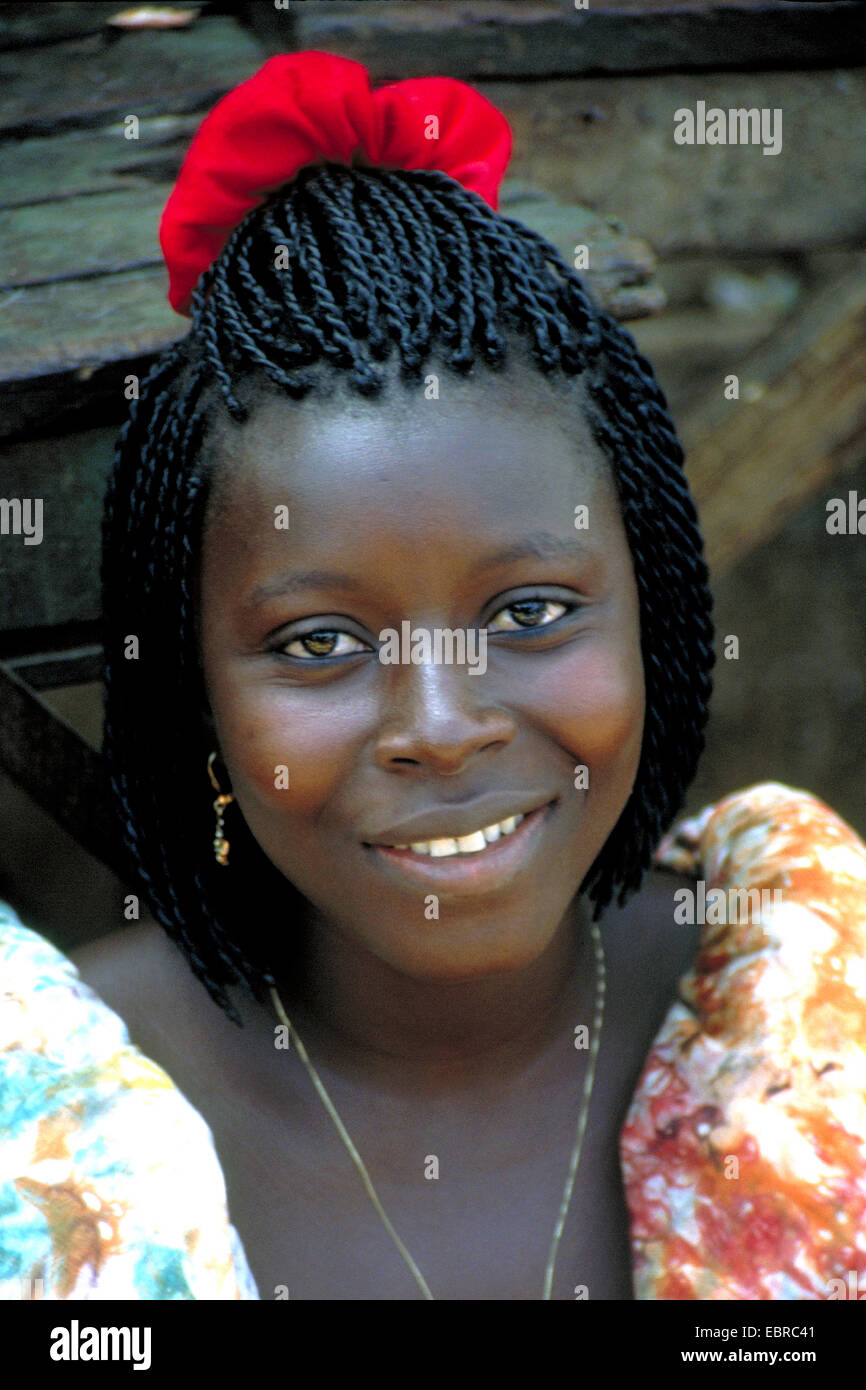 portrait of a pretty young African, Cote d'Ivoire - Stock Image