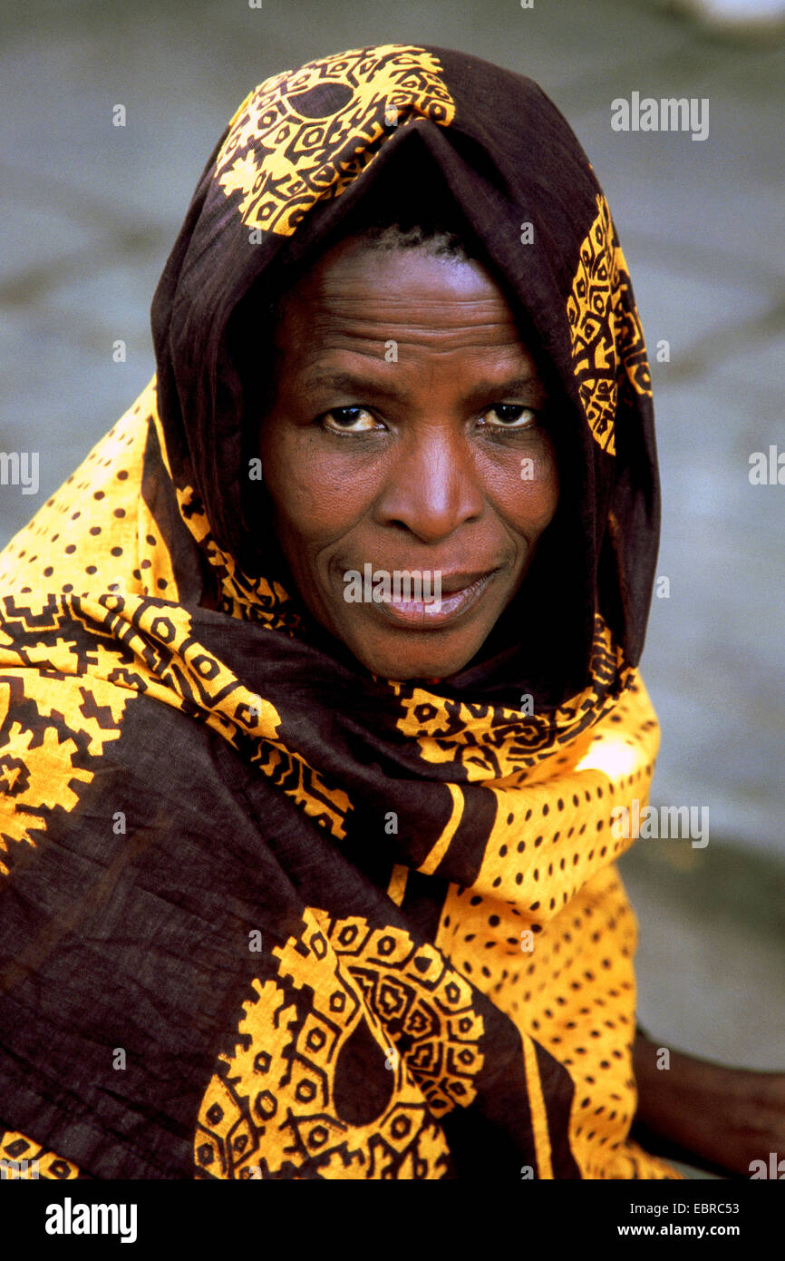 portrait of an old African woman, Tanzania - Stock Image
