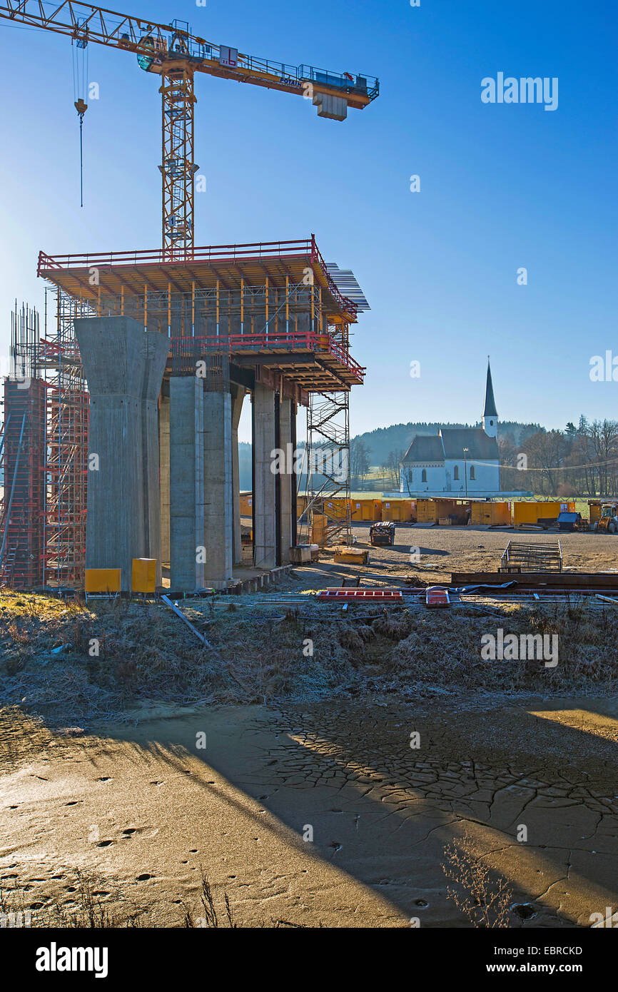 motorway bridge construction site and chapel, Germany, Bavaria - Stock Image