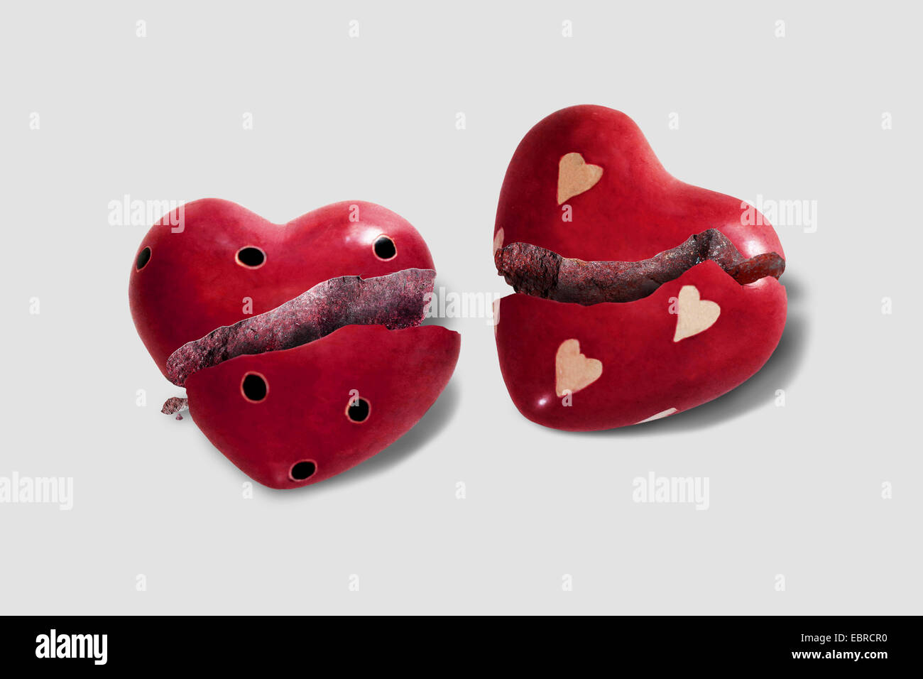 two broken hearts - Stock Image