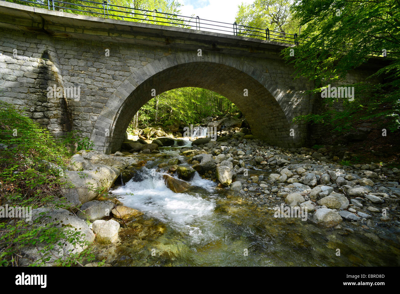 stone bridge at Cascades de Anglais, France, Corsica, Monte d�Oro - Stock Image