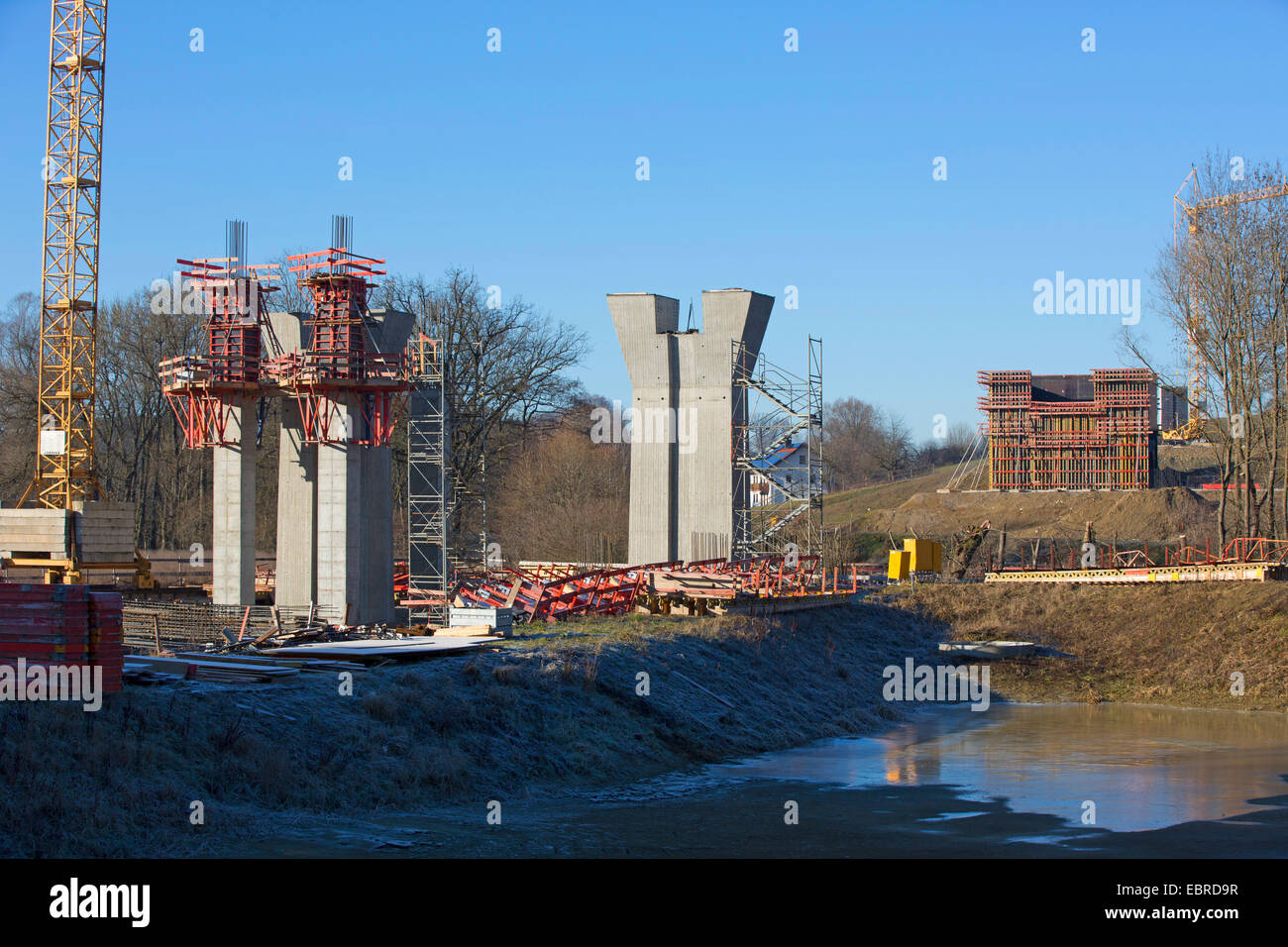motorway bridge construction site above river valley, Germany, Bavaria - Stock Image