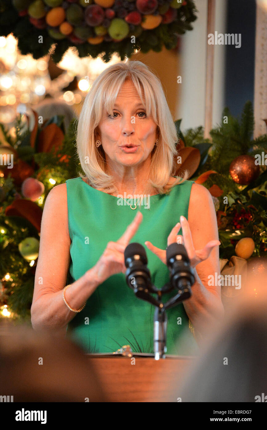 Dr. Jill Biden welcomes military families at a holiday reception at the Vice President's residence December - Stock Image