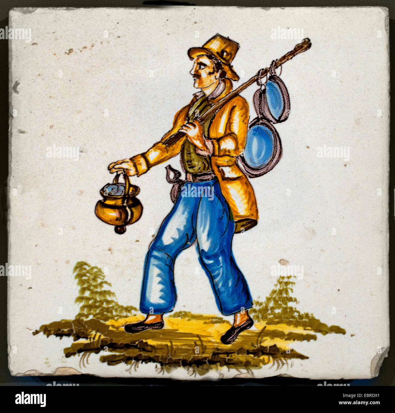 Tiles with Figures Professions Occupations Spain Spanish - Stock Image