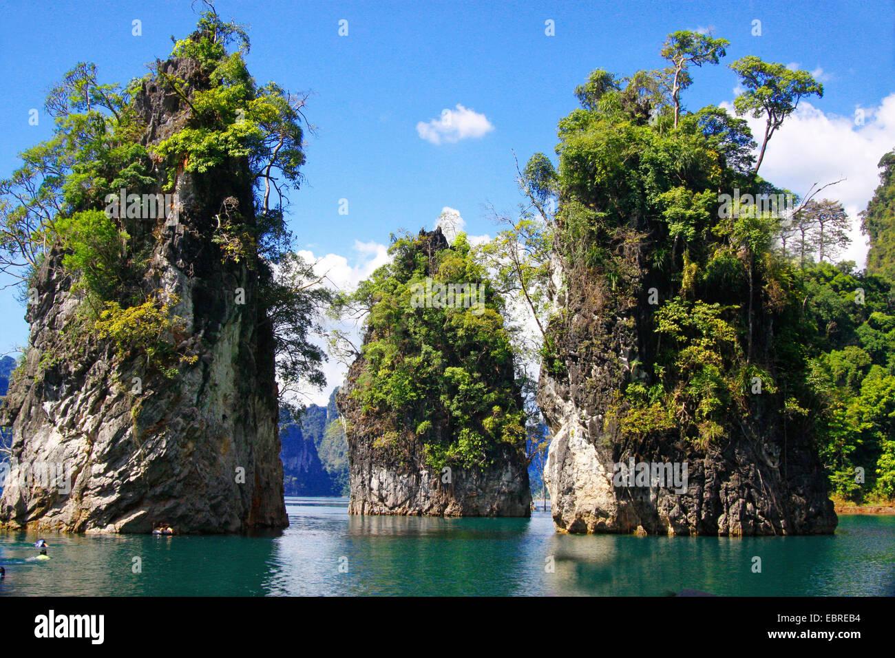 rock in the storage lake, Thailand, Khao Sok National Park - Stock Image