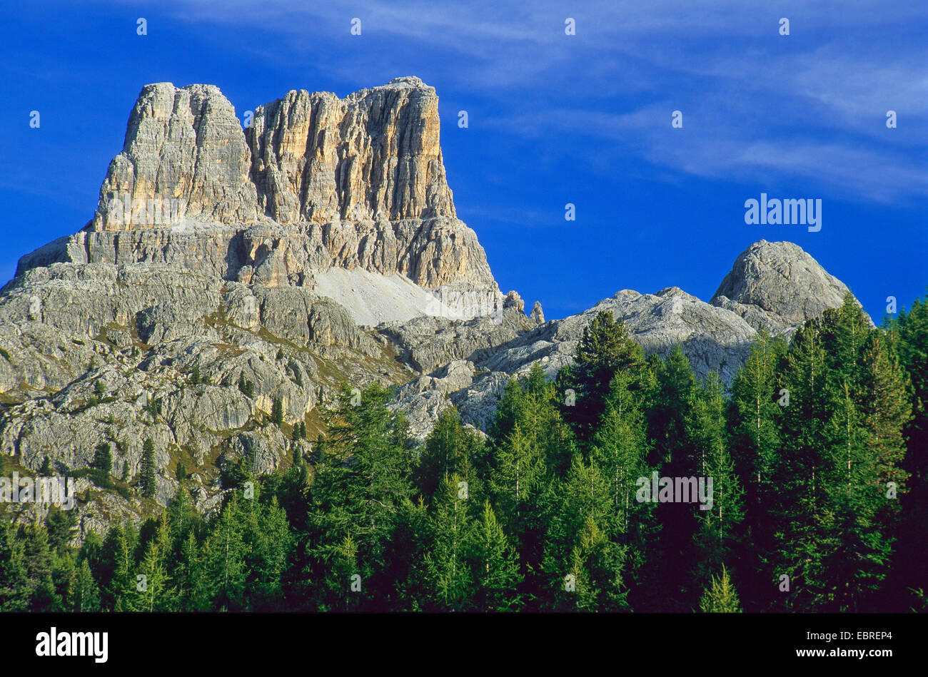 Pass Giau with Ra Gusela and Tofana di Rozes, Italy, South Tyrol, Dolomites - Stock Image