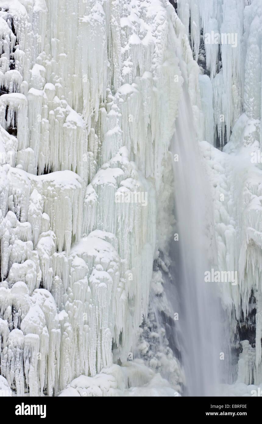 frozen waterfall Njupeskaer, Norway, Dalarna, Fulufjaellet National Park - Stock Image