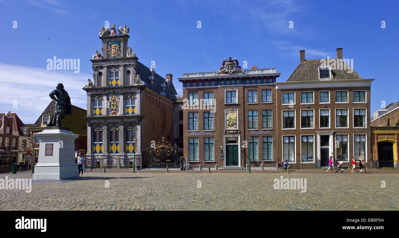 De Roode Steen square and Westfries Museum, Netherlands, Noord Holland, Hoorn - Stock Image