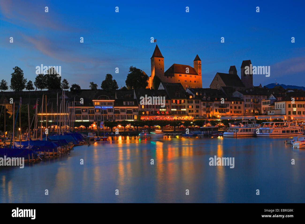 Castle Rapperswil at the Lake Zuerich, Switzerland - Stock Image