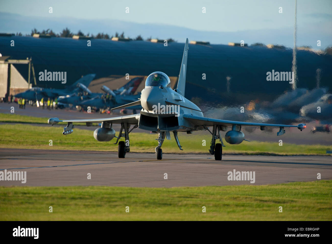 Eurofighter Typhoon FRG4 'ZK345' Military Jet Fighter preparing to depart RAF Lossiemouth air base. SCO - Stock Image