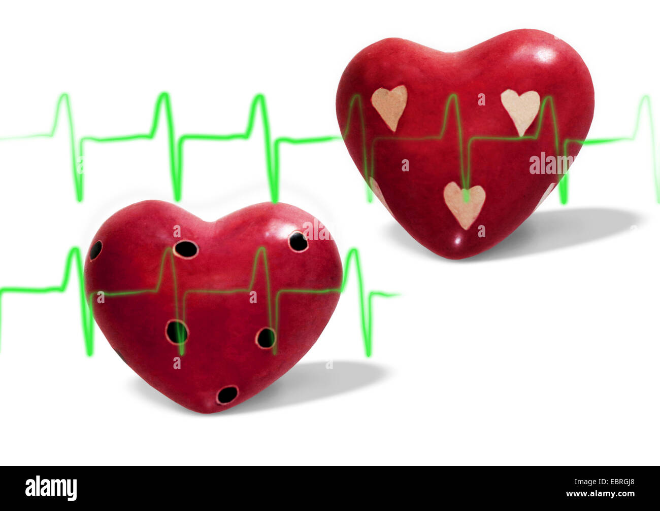 Steinherzen Gleichtakt, two cut out stone hearts, common mode, heart rate, love, symbol picture - Stock Image