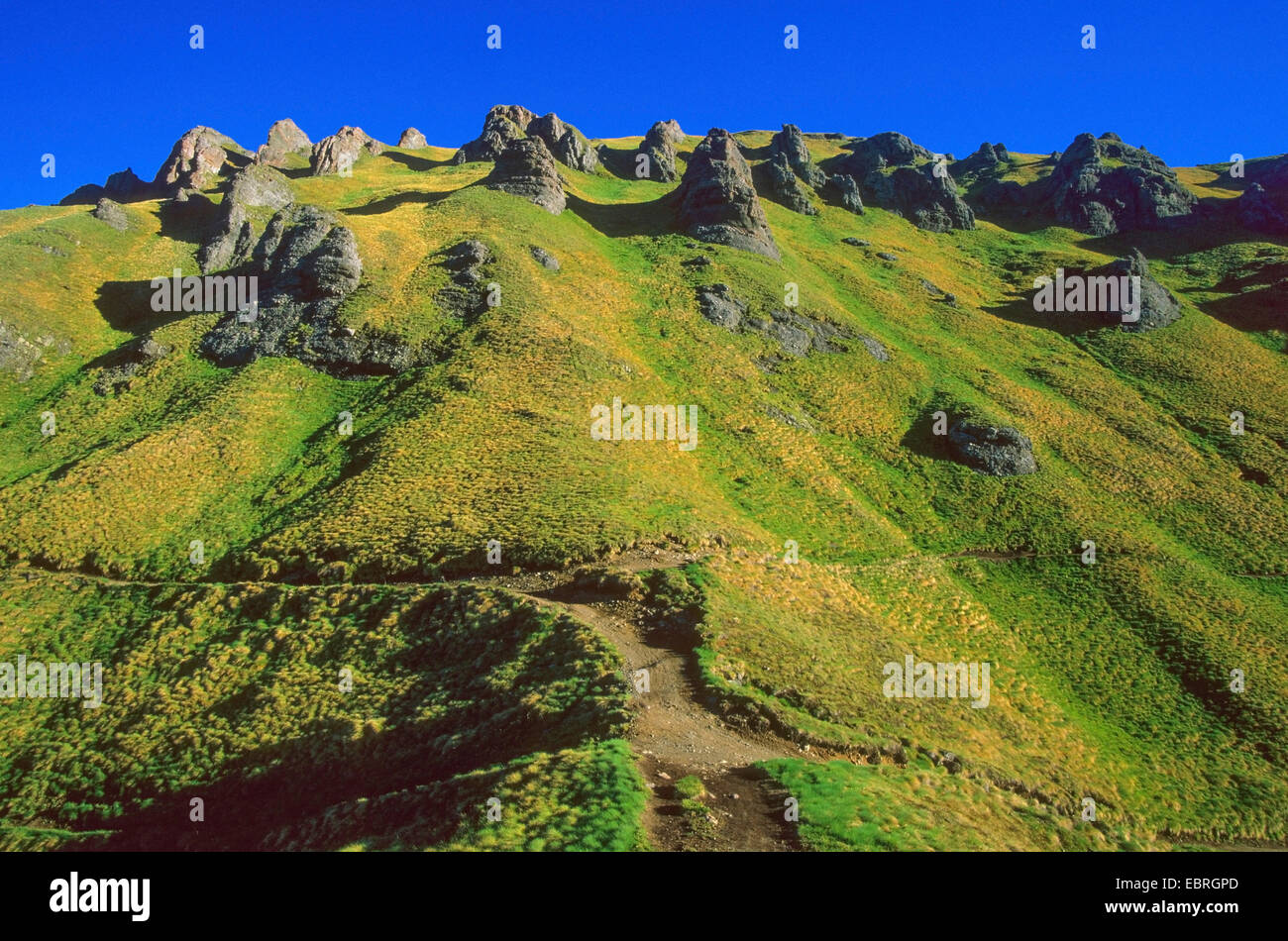 rock formation at Pordoi Pass, Italy, South Tyrol, Dolomites - Stock Image