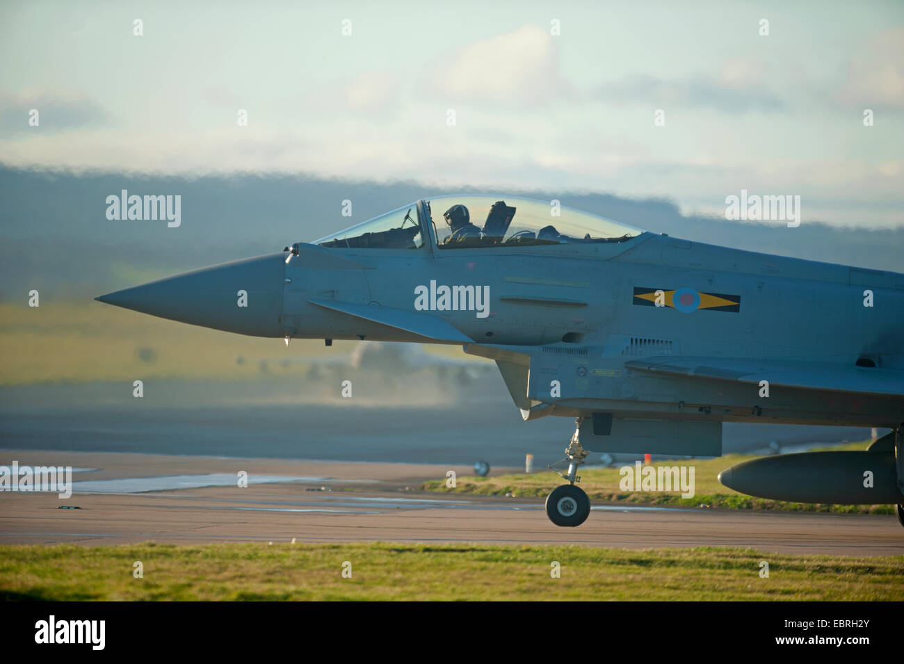 Eurofighter Typhoon FRG4 Military Jet Fighter on taxiway preparing to depart RAF Lossiemouth air base. SCO 9277. - Stock Image