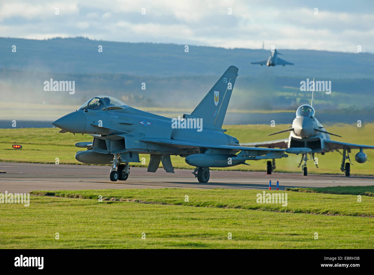 Eurofighter Typhoon FRG4s Military Jet Fighter preparing to depart RAF Lossiemouth air base.  SCO 9278. - Stock Image