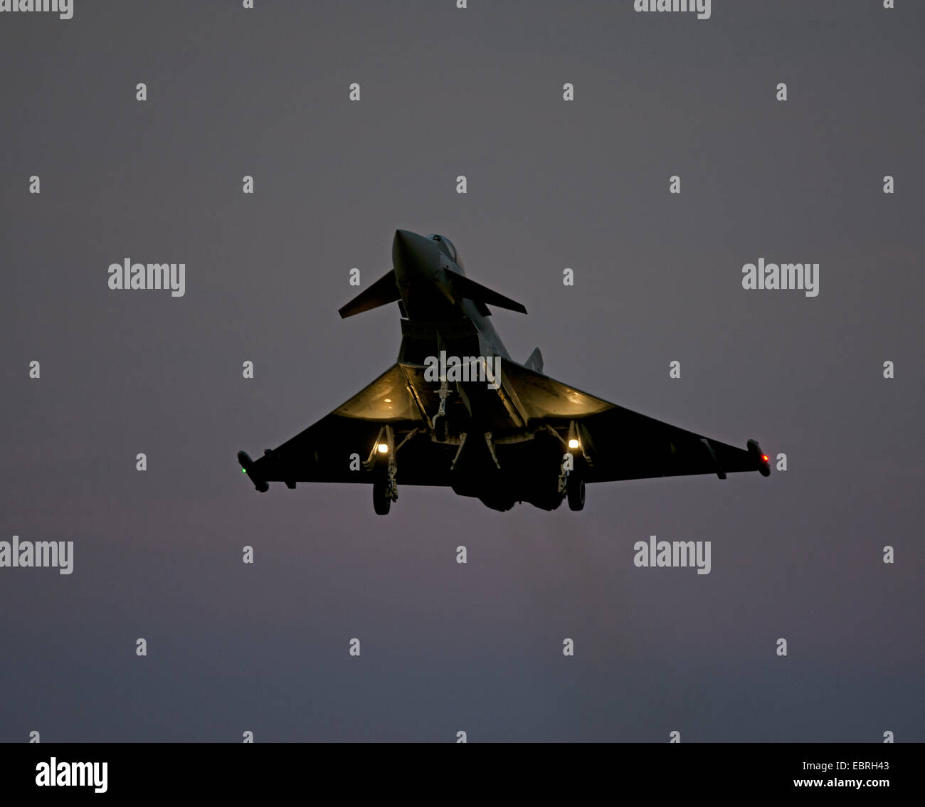 Eurofighter Typhoon FRG4 Military Jet Fighter returning from an afrternoon sortie at RAF Lossiemouth air base. SCO - Stock Image