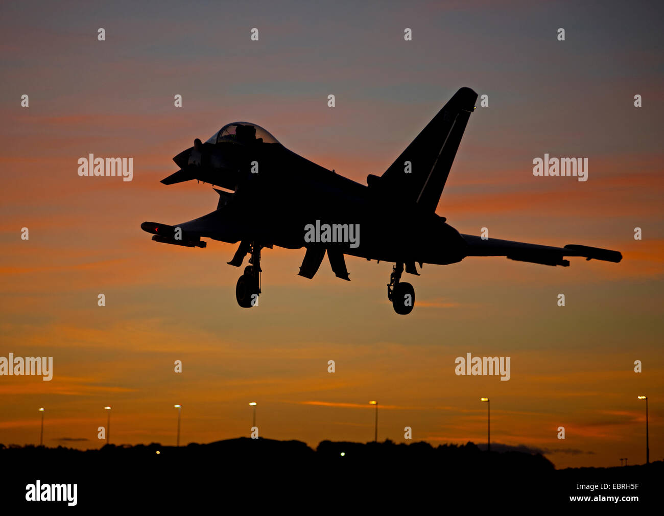 Eurofighter Tyhoon FRG4 Returning at dusk to its home base at RAF Lossiemouth, Morayshire.  SCO 9283. - Stock Image