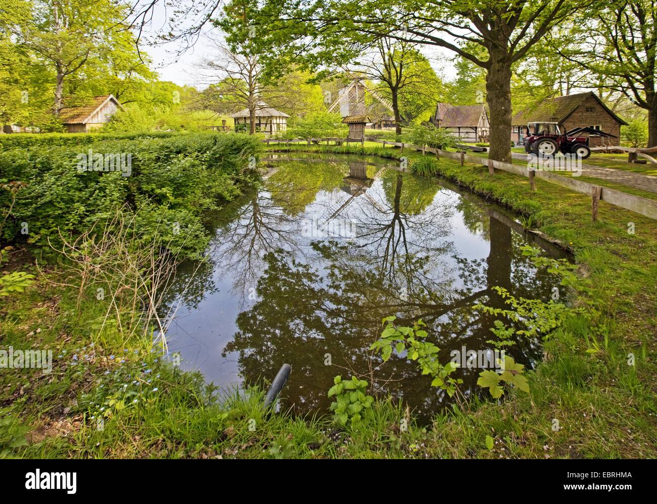 Muehlenhof open-air museum with water ditch, Europe, Germany, North Rhine-Westphalia, Muensterland - Stock Image