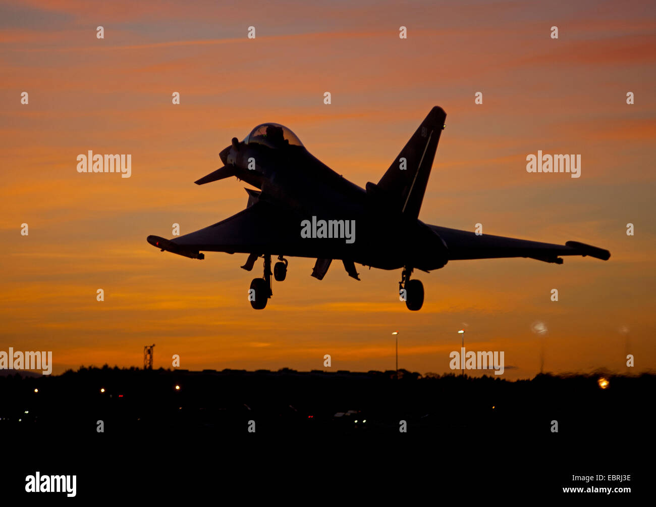 Eurofighter Tyhoon FRG4 Returning at dusk to its home base at RAF Lossiemouth, Morayshire.  SCO 9285. - Stock Image