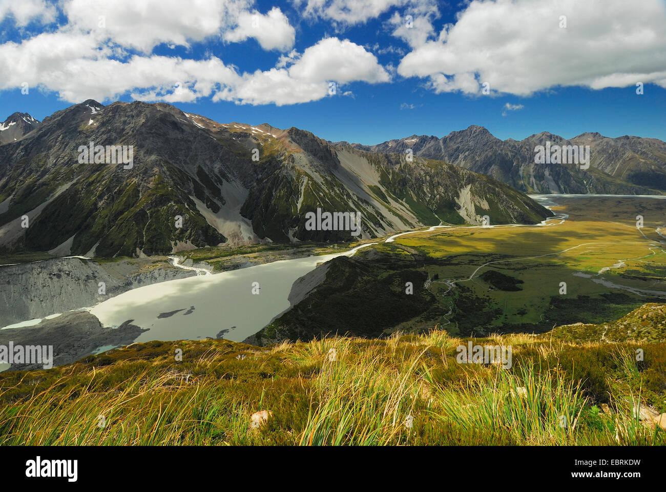 Mueller Lake and Hooker River in Hooker Valley, New Zealand, Mount Cook National Park - Stock Image