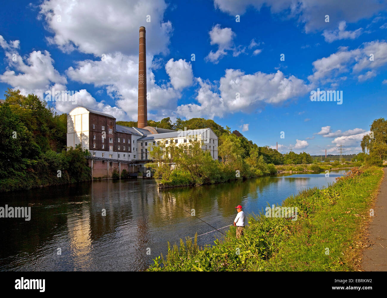 Horster Muehle hydroelectric power plant at Ruhr river, Germany, North Rhine-Westphalia, Ruhr Area, Essen - Stock Image