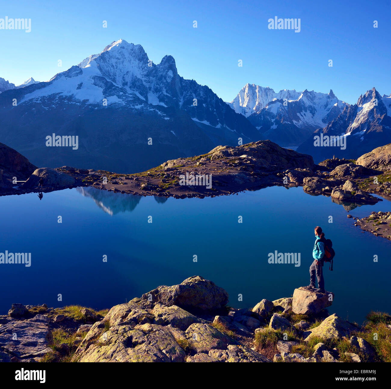 mountain hiker at lake Blanc in front of Aiguille Verte, France, Haute-Savoie, Chamonix - Stock Image