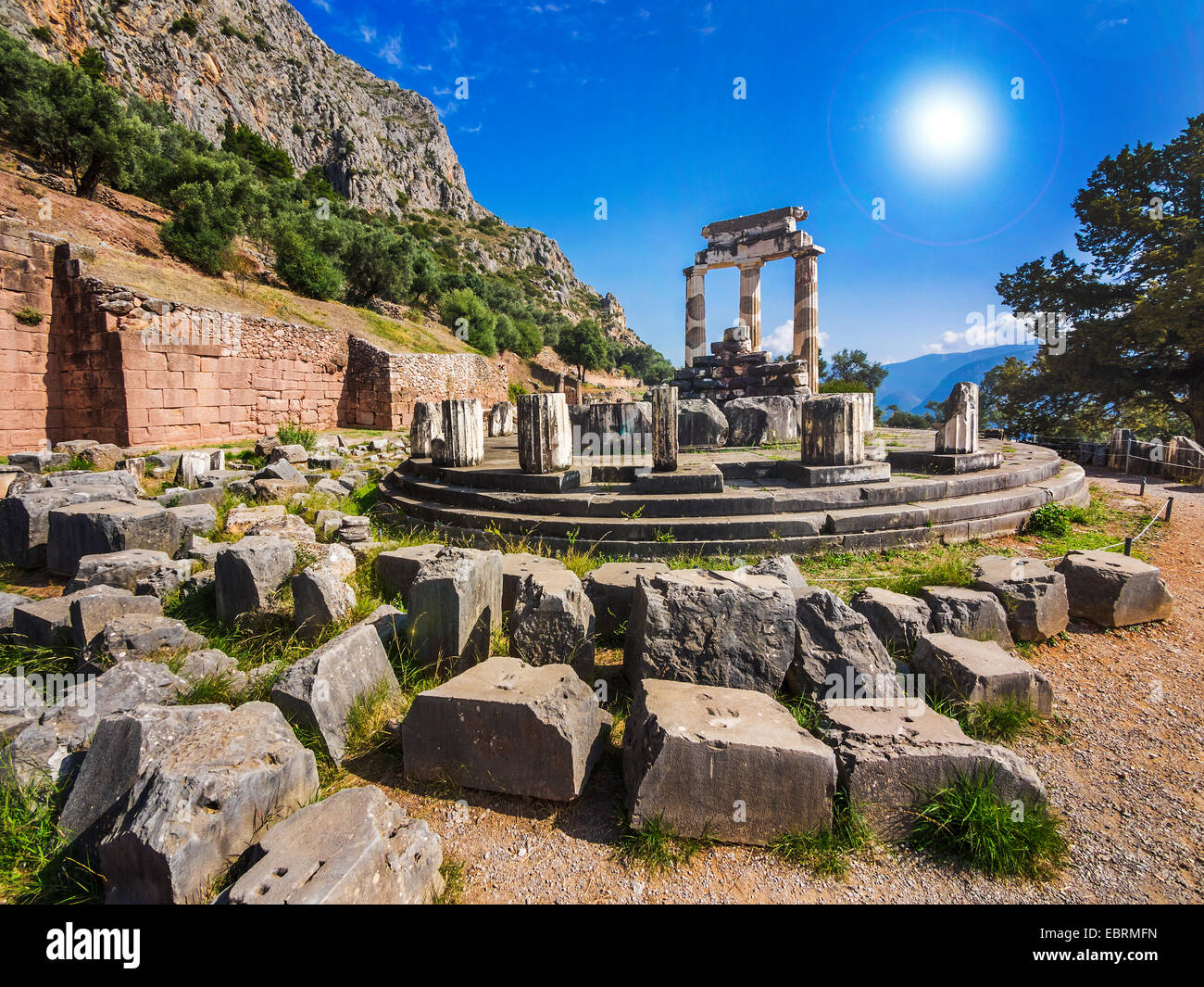 The Tholos at the sanctuary of Athena Pronoiat Delphi is a marble circular building that was constructed between Stock Photo