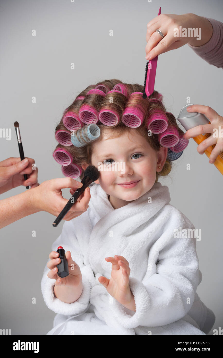 Young Child being pampered. - Stock Image