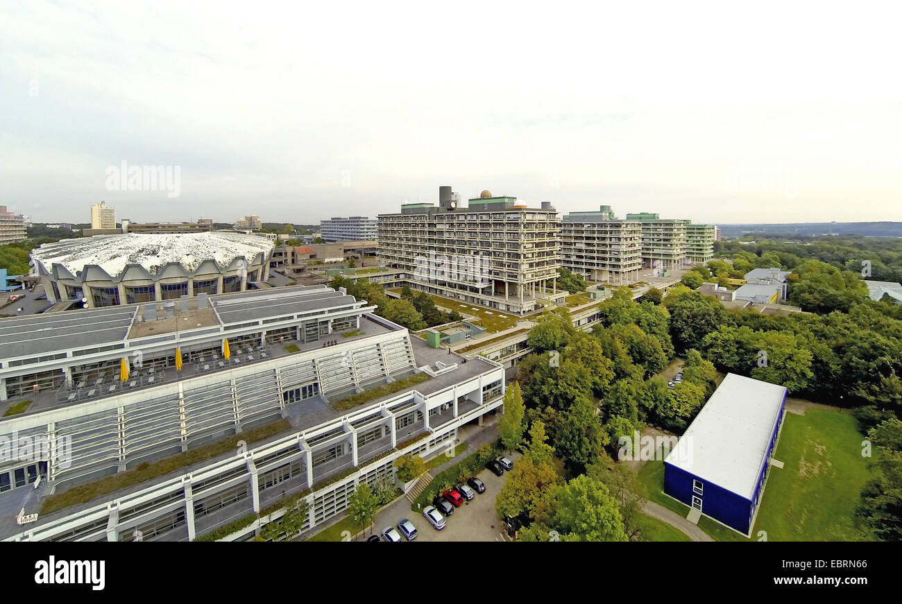 aerial view to the Ruhr-Universitaet Bochum with refectory, Audimax, natural sciences and engineering sciences, - Stock Image